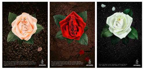 Amnesty International advertising campaign in 2014 to raise awareness of FGM, using images of mutilated and sutured roses